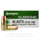 Premium 45 ACP Ammo For Sale - 230 Grain FNEB Ammunition in Stock by Remington Subsonic - 50 Rounds