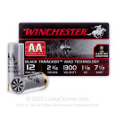 "Premium 12 Gauge Ammo For Sale - 2-3/4"" 1-1/8 oz. #7.5 Ammunition in Stock by Winchester AA Traacker Black Traacker Wad - 25 Rounds"