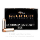 Cheap 38 Special +P Ammo For Sale - 125 gr Speer Gold Dot Ammo - 50 Rounds