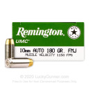 10mm Auto Ammo For Sale - 180 gr MC - Remington UMC 10mm Ammunition In Stock