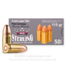 Cheap 9mm Ammo For Sale - 115 Grain FMJ Ammunition in Stock by Sterling Factory Reloaded - 50 Rounds