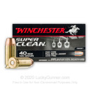 Premium 40 S&W Ammo For Sale - 120 Grain Zinc Core FMJ Ammunition in Stock by Winchester Super Clean - 50 Rounds