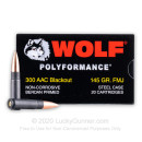 Cheap 300 AAC Blackout Ammo For Sale - 145 Grain FMJ Ammunition in Stock by Wolf - 20 Rounds