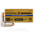 Defensive 9mm Ammo For Sale - 124 gr JHP  - Federal LE HST Ammunition In Stock