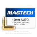 Cheap 10mm Auto Ammo For Sale - 180 Grain JHP Ammunition in Stock by Magtech - 50 Rounds