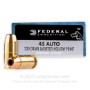 Defensive 45 ACP Ammo For Sale - 230 gr JHP - Federal Personal Defense Ammunition In Stock