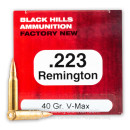 Premium 223 Rem Ammo For Sale - 40 Grain V-Max Ammunition in Stock by Black Hills - 50 Rounds