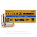Defensive 40 S&W Ammo For Sale - 165 gr HST JHP  - Federal LE Tactical Ammunition In Stock - 50 Rounds