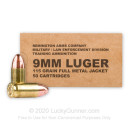 Cheap 9mm Ammo For Sale - 115 Grain FMJ Ammunition in Stock by Remington MIL / LE Contract Overrun - 50 Rounds