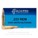 Premium 223 Rem Ammo For Sale - 55 Grain BlitzKing Ammunition in Stock by ADI World Class - 20 Rounds