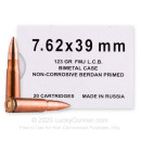 Cheap 7.62x39 Ammo For Sale - 123 Grain FMJ Ammunition in Stock by Barnaul - 20 Rounds