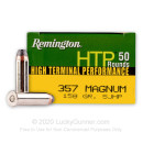 Cheap 357 Mag Ammo For Sale - 158 gr SJHP Remington High Terminal Performance Ammunition In Stock - 50 Rounds
