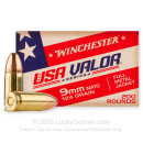 Bulk 9mm NATO Ammo For Sale - 124 Grain FMJ Ammunition in Stock by Winchester USA VALOR - 1000 Rounds