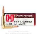 Premium 6mm Creedmoor Ammo For Sale - 90 Grain GMX Ammunition in Stock by Hornady Superformance - 20 Rounds