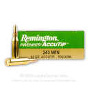 Premium 243 Win Ammo For Sale - 95 Grain Accutip Polymer Tip Ammunition in Stock by Remington Premier - 20 Rounds