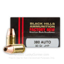 Cheap 380 Auto Ammo For Sale - 90 Grain JHP Ammunition in Stock by Black Hills Ammunition - 20 Rounds