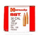 Premium 308 Caliber Bullets For Sale - 150 Grain SST Polymer Tipped Bullets in Stock by Hornady - 100 Bullets