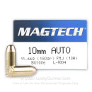 Cheap 10mm Ammo For Sale - 180 Grain FMJ Ammunition in Stock by Magtech - 50 Rounds