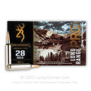 Premium 28 Nosler Ammo For Sale - 160 Grain Tipped MatchKing Ammunition in Stock by Browning Long Range Pro - 20 Rounds