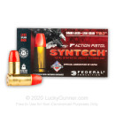 Premium 9mm Ammo For Sale - 150 Grain Total Synthetic Jacket Ammunition in Stock by Federal Syntech Action Pistol - 50 Rounds