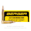 Premium 223 Rem Ammo For Sale - 73 Grain HPBT Ammunition in Stock by Berger Target - 20 Rounds