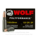 Cheap 7.62x39 Ammo For Sale From Wolf Ammunition - 125 gr soft point SP ammunition online - 20 Rounds of AK-47 Ammo