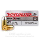 Cheap 45 ACP Ammo For Sale - 230 gr FMJ Winchester 1911 Ammunition In Stock - 50 Rounds