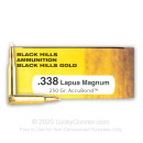 Premium 338 Lapua Mag Ammo For Sale - 250 Grain AccuBond Ammunition in Stock by Black Hills Gold - 20 Rounds