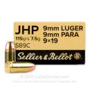 Sellier & Bellot 9mm Ammo - 115 gr JHP