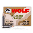 Bulk 223 Rem Ammo For Sale - 62 Grain SP Ammunition in Stock by Wolf Military Classic - 500 Rounds
