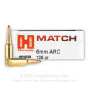 Premium 6mm ARC Ammo For Sale - 108 Grain ELD Match Ammunition in Stock by Hornady Match - 20 Rounds