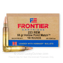 Premium 223 Rem Ammo For Sale - 55 Grain HP Match Ammunition in Stock by Hornady Frontier - 150 Rounds