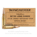 Premium 7.62x51 Ammo For Sale - 175 Grain HPBT MatchKing M118LR Ammunition in Stock by Winchester Service Grade - 20 Rounds