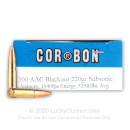Premium 300 AAC Blackout Ammo For Sale - 220 Grain FMJBT Ammunition in Stock by Corbon Performance Match Subsonic - 20 Rounds