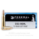 Premium 223 Rem Ammo For Sale - 55 gr SP Ammunition In Stock by Federal - 20 Rounds
