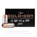 Premium 40 S&W Defense Ammo In Stock - 165 gr JHP - 40 Smith and Wesson Ammunition by Speer Gold Dot For Sale - 20 Rounds