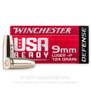Premium 9mm +P Ammo For Sale - 124 Grain JHP Ammunition in Stock by Winchester USA Ready Defense - 20 Rounds