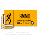 Cheap 9mm Ammo For Sale - 115 Grain FMJ Ammunition in Stock by Browning - 50 Rounds