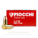 Cheap 9x21mm IMI Ammo For Sale - 123 gr FMJ - Fiocchi Ammunition Online - 50 Rounds