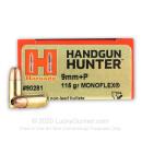 Premium 9mm +P Ammo For Sale - 115 Grain MonoFlex Ammunition in Stock by Hornady Handgun Hunter - 25 Rounds