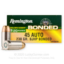 Premium 45 ACP Ammo For Sale - 230 Grain BJHP Ammunition in Stock by Remington Golden Saber Bonded - 20 Rounds