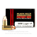 Premium 9mm Ammo For Sale - 100 Grain HoneyBadger Ammunition in Stock by Black Hills - 20 Rounds
