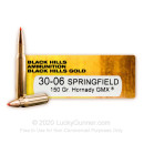 Premium 30-06 Ammo For Sale - 150 Grain Hornady GMX Ammunition in Stock by Black Hills Gold - 20 Rounds