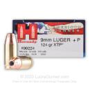 9mm Luger Ammo - Hornady American Gunner +P 124gr JHP - 25 Rounds