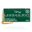 Premium 223 Rem Ammo For Sale - 55 Grain Frangible RHT Ammunition in Stock by Speer Lawman - 20 Rounds