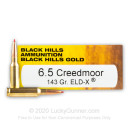 Premium 6.5 Creedmoor Ammo For Sale - 143 Grain ELD-X Ammunition in Stock by Black Hills Gold - 20 Rounds