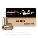 Cheap 45 ACP 230 gr JHP Defense Ammo For Sale -  PMC Starfire Ammo In Stock - 20 Rounds