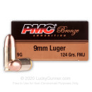 Cheap 9mm Ammo For Sale - 124 gr FMJ - Reloadable PMC Ammunition Online - 50 Rounds