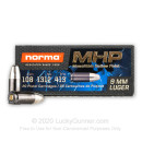 Premium 9mm Ammo For Sale - 108 Grain MHP Ammunition in Stock by Norma - 20 Rounds