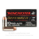 Premium 10mm Auto Ammo For Sale - 180 Grain JHP Ammunition in Stock by Winchester Defender - 20 Rounds